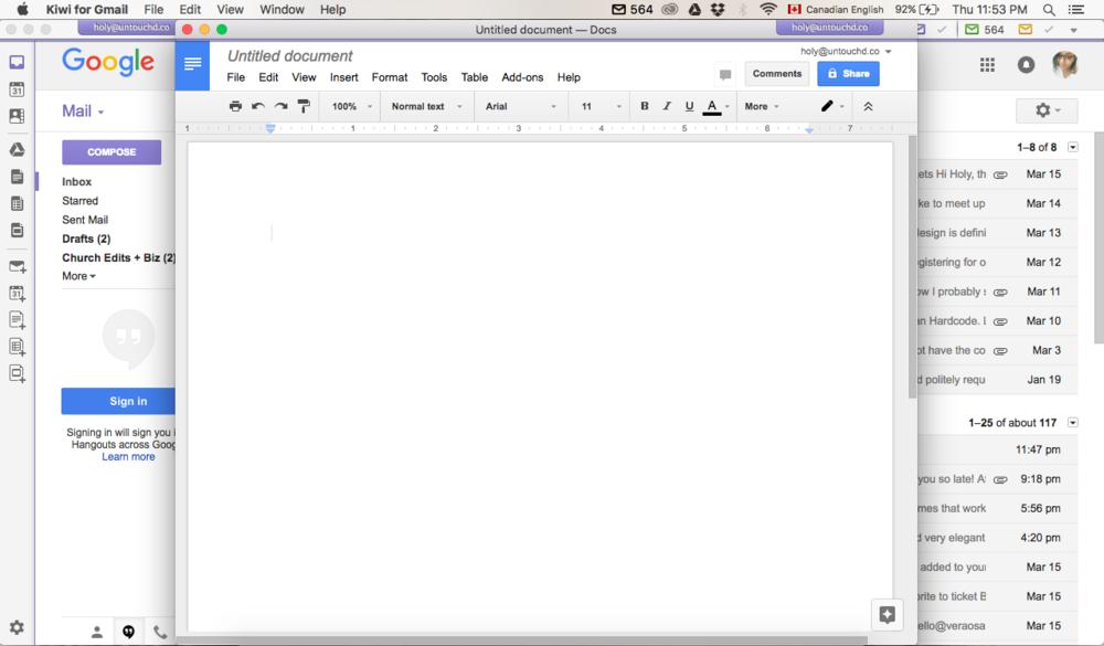 Google Docs Once Opened via Kiwi For Gmail. -