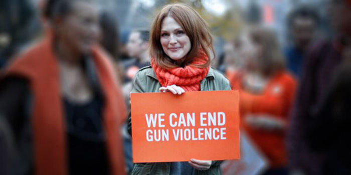 """Julianne Moore became involved with Everytown for Gun Safety, the largest U.S. organization for gun violence prevention, which launched in 2014 through a combination of the groups Mayors Against Illegal Guns and Moms Demand Action for Gun Sense in America. Everytown, which boasts more than 3 million members, advocates for initiatives that would create stricter background checks and supports laws that keep guns away from domestic abusers and strengthen safety programs."" Read more in Variety."