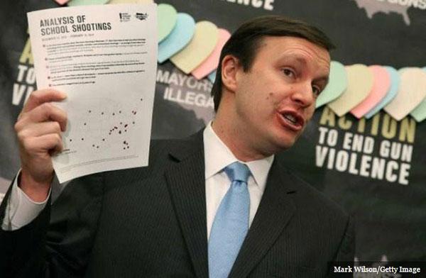 Senator Chris Murphy  speaking about gun violence statistics.