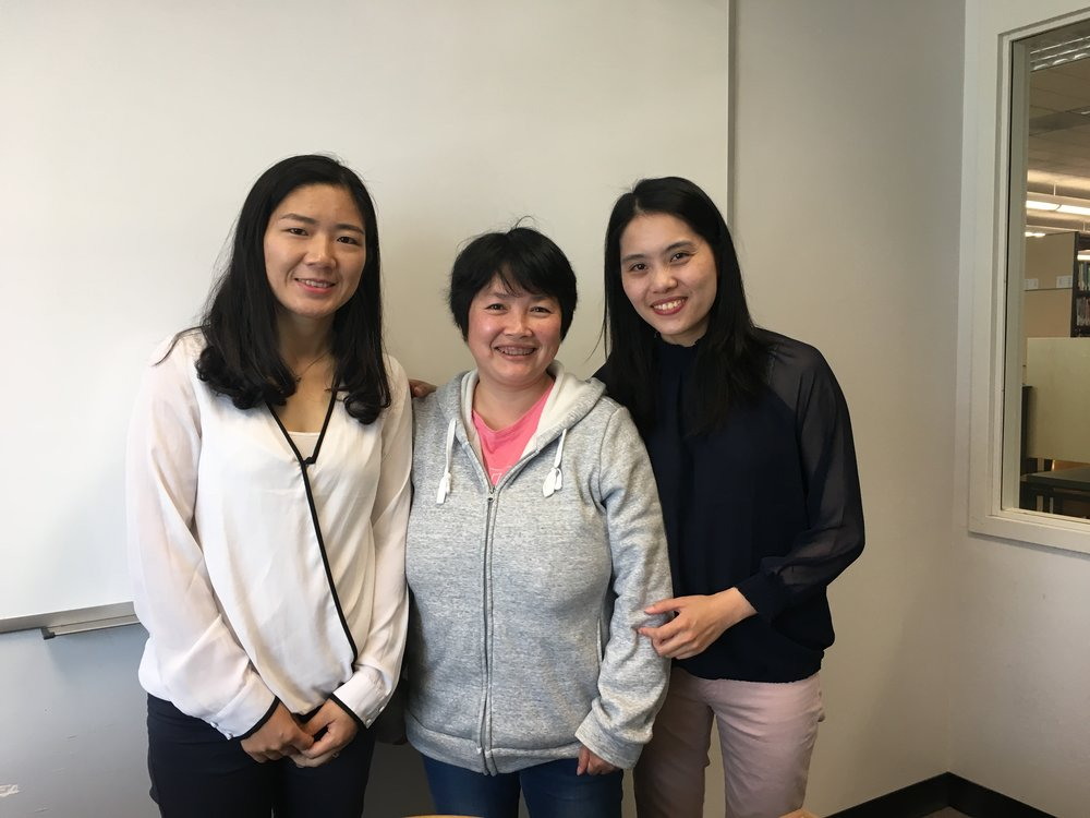 Left to right: Yaya and Celia (Parent and Family Leaders) with Sandy (PPS-SF's Chinese Community Outreach Coordinator) at the Parent and Family Leaders Orientation.