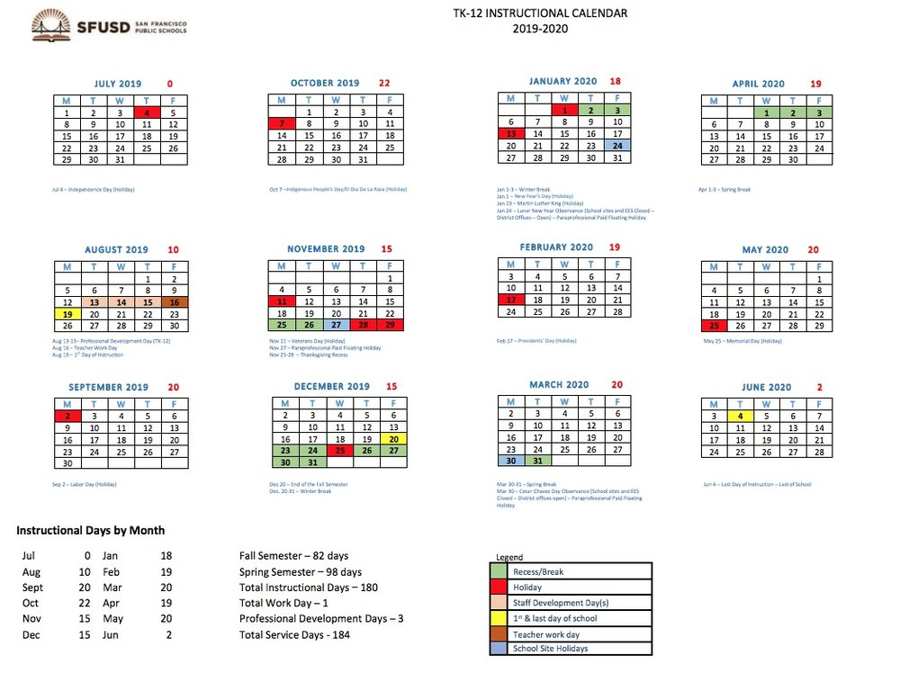 Proposed 2019-2020 SFUSD Instructional Calendar - It is not official until the Board of Education votes!