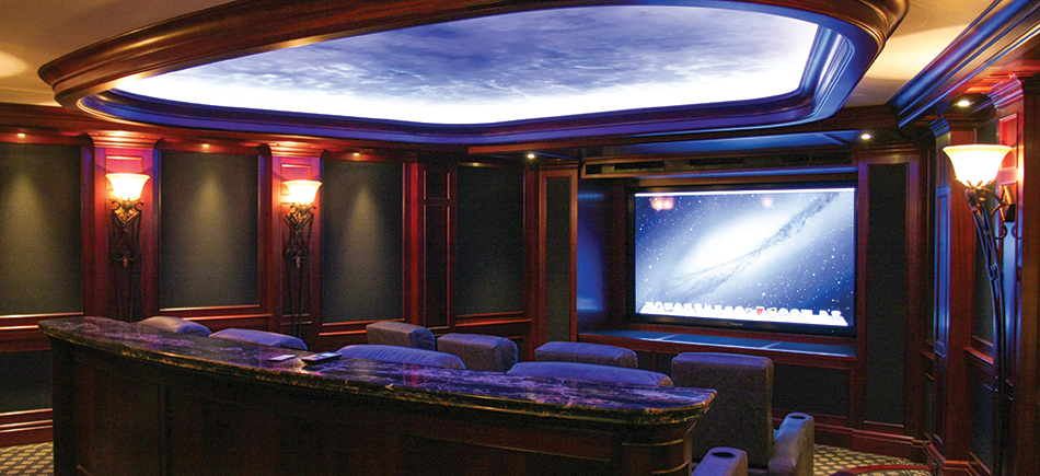 Beautiful home theater with multilevel seating