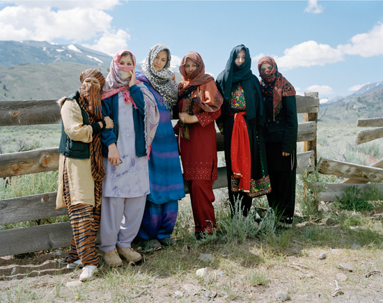 Civilian Afghan-American Women role playing as Afghan villagers during a Marine Corps Training, Marine Corps Mountain Warfare Training Center, CA, 2009