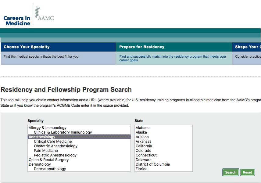 Screenshot from the AAMC Careers in Medicine website