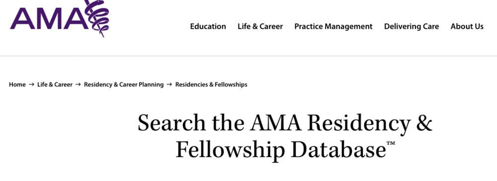 Screenshot from AMA FREIDA website