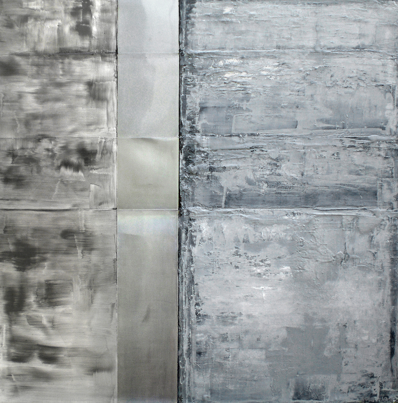 Structural tension III, 2008  oil, metal, canvas 48x48""