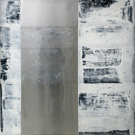 Structural tension I, 2008  oil, metal, canvas  48x48i""