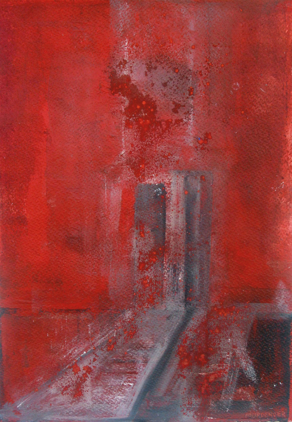 Red entry, 2005  pygment, mixed media on paper, 19x13""