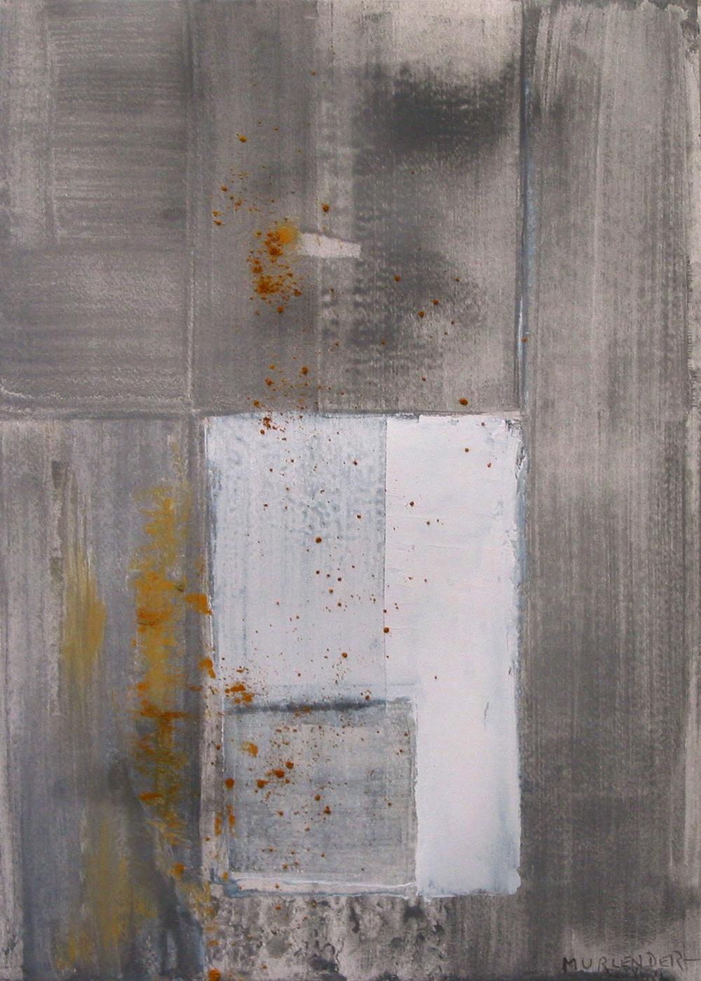 "Ochre, 2005 acrylic,, pygment on paper 19x13"""