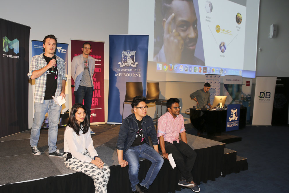 The xsSpace team mid-pitch (L-R) - Kieran Sullivan, Ruqayyah Merchant, Patrick Blain, Danny Bui, Vignesh Arun, and Kristoff Dippl.