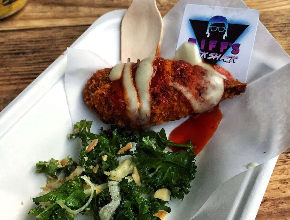 Biff's Jack Shack  - Double fried jackfruit buffalo wings speared on sugar cane bone with maple bourbon hot sauce, blue cheese, toasted almond kale slaw and a fresh seared peach. An imaginative idea with the use of sugar cane to resemble a wing bone.@biffsjackshack