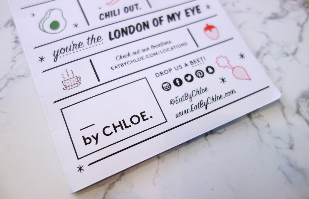 Bright Zine | By Chloe London Covent Garden Opening | Menu