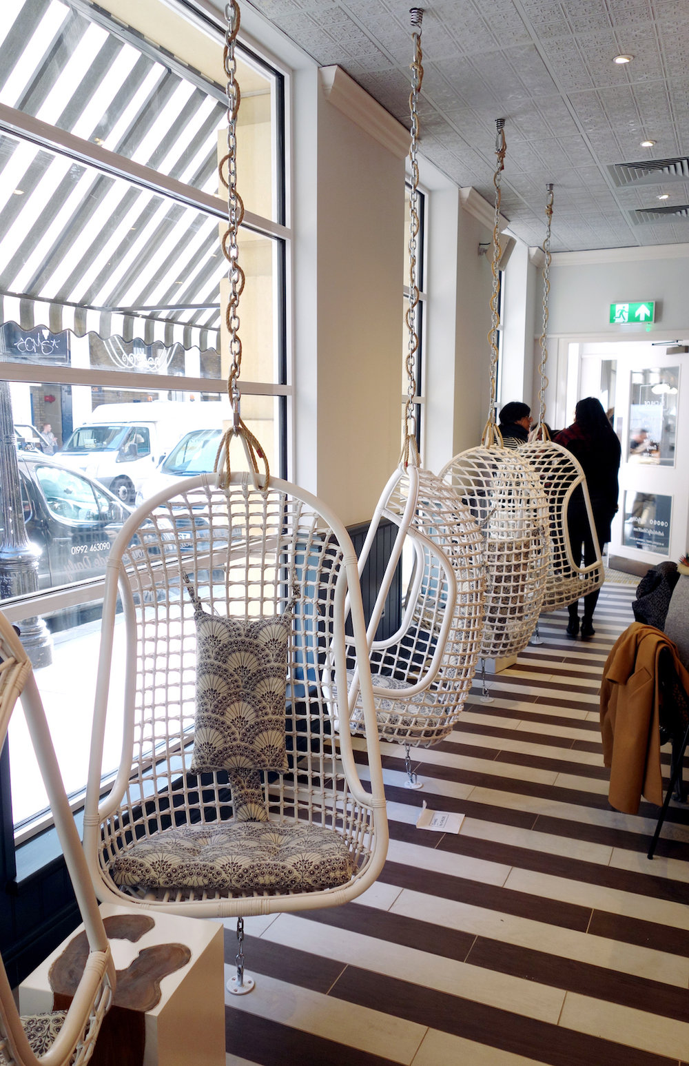 Bright Zine | By Chloe London Covent Garden Opening | Interior Swing Chairs