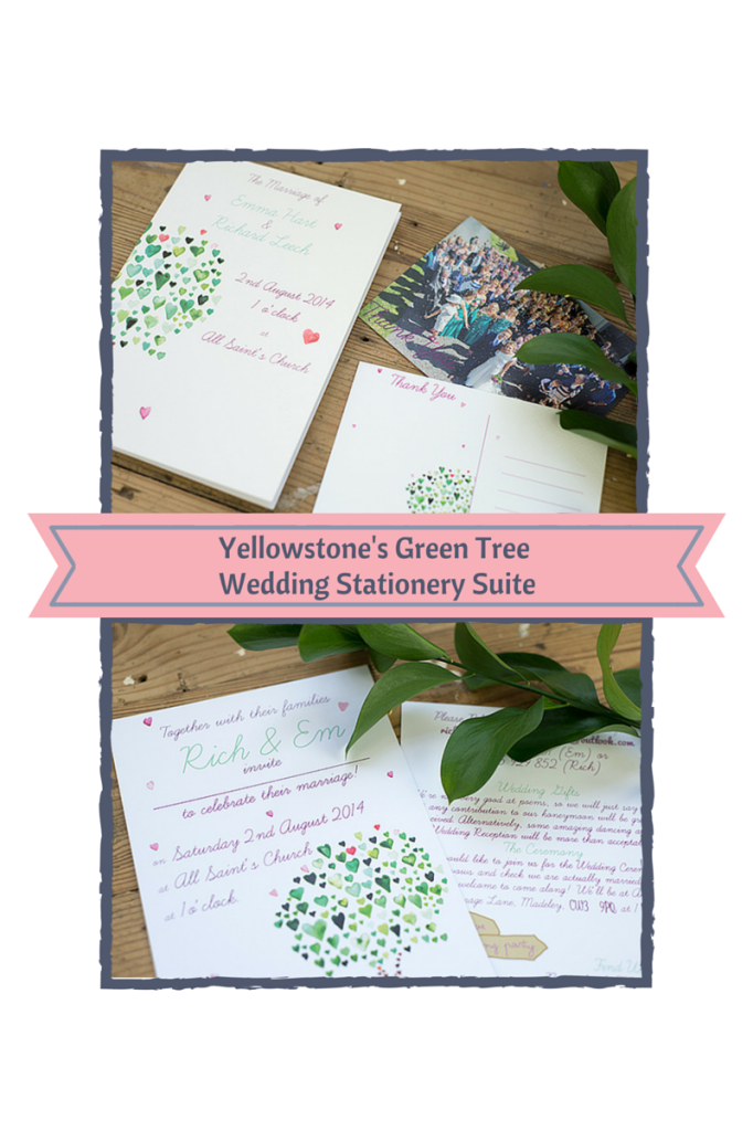 Yellowstone's Green Tree wedding stationery suite