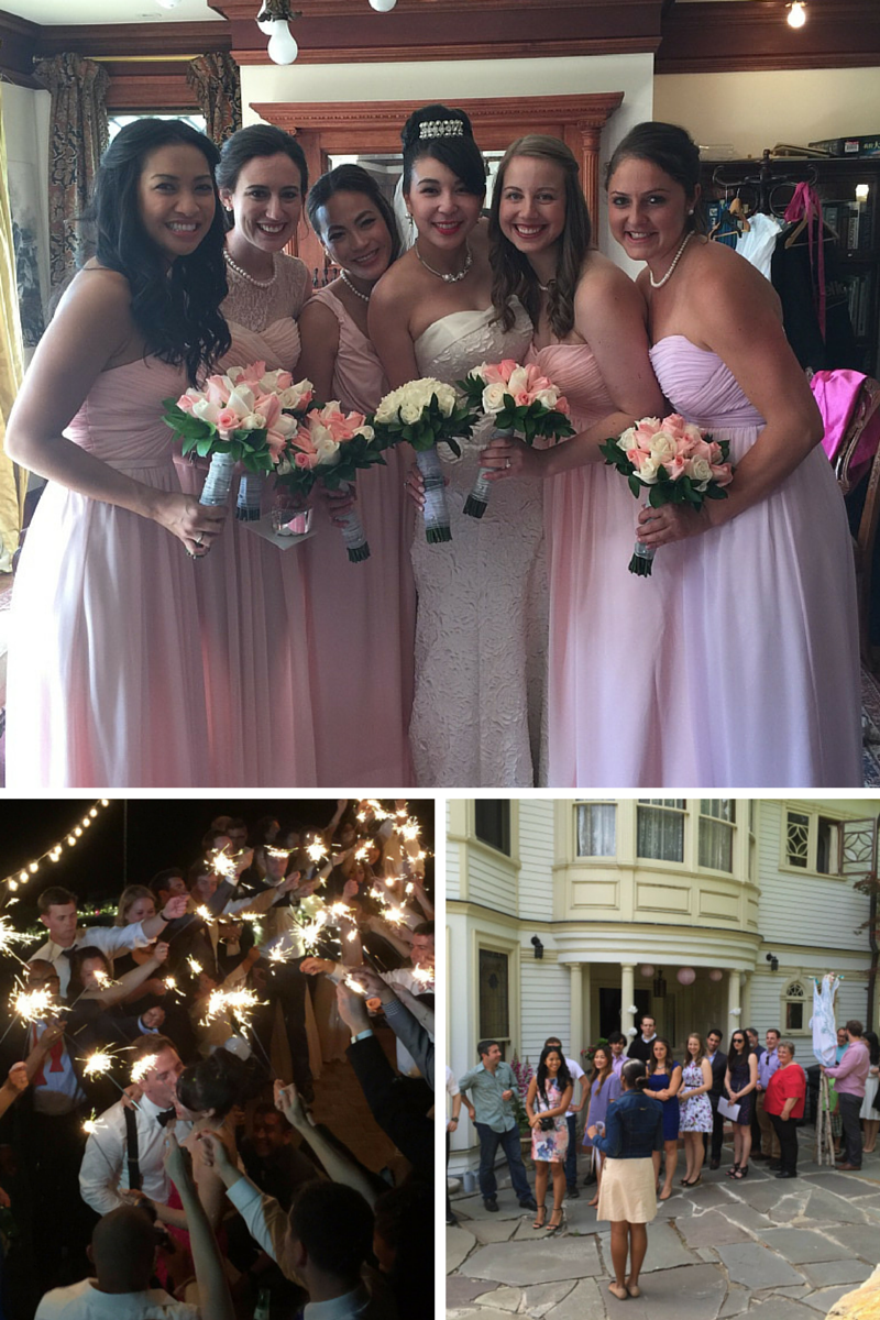 Clock wise from top: The bride and her bridesmaids, me going over the rehearsal, the sparkler exit