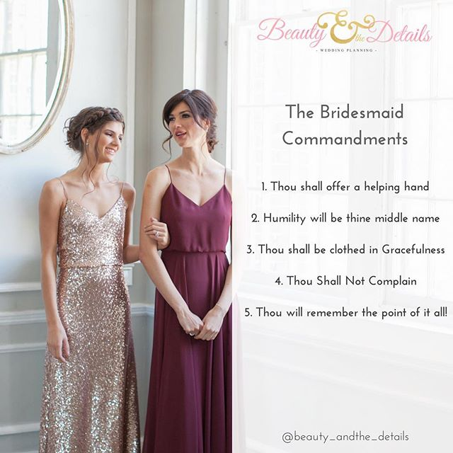 #ontheblog #Bridesmaids! Remember these commandments! Living by these rules will make you the best bridesmaid ever. Trust me! Link in Profile. (📷: Aida Krgin/ @aliciakingphoto | Dresses by: @jennyyoonyc). . . . #2017Weddings #bride#bridetobe #wedding #weddings #bridal #weddinginspiration #weddingstyle #girlboss #weddingplanner #nycweddingplanner #nyweddingplanner #nycweddings #nyweddings #destinationwedding #engaged #ido #bridesmaid #gettingmarried