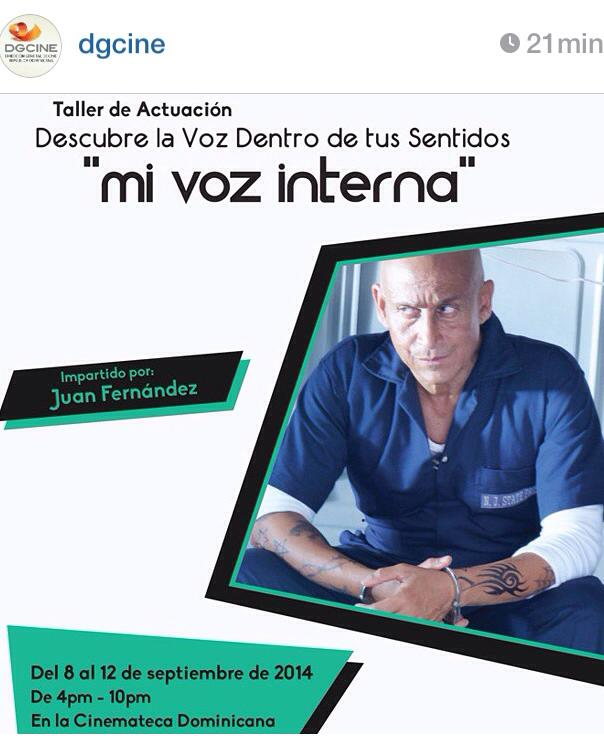 Instagram post announcement of the Fundacion Global of Juan Fernández' Master Class.
