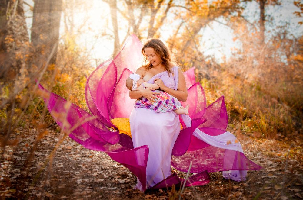 Beautiful Breastfeeding Momma, handmade lotus blossom prop throne