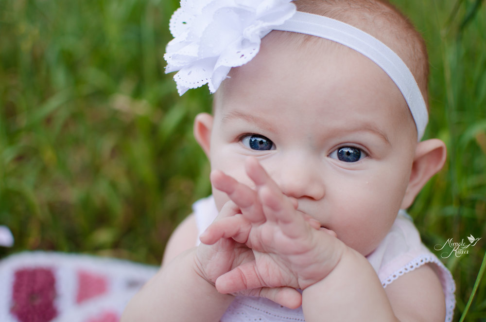 6 month milestone outdoor photography, princess girl