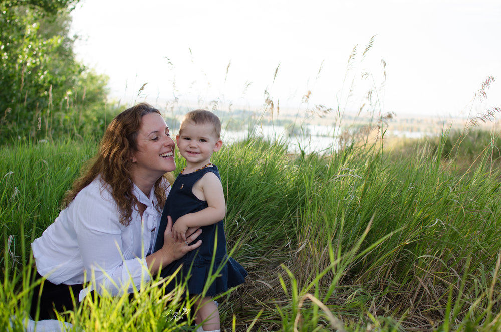 Smiling family photo, lifestyle image, mothers love