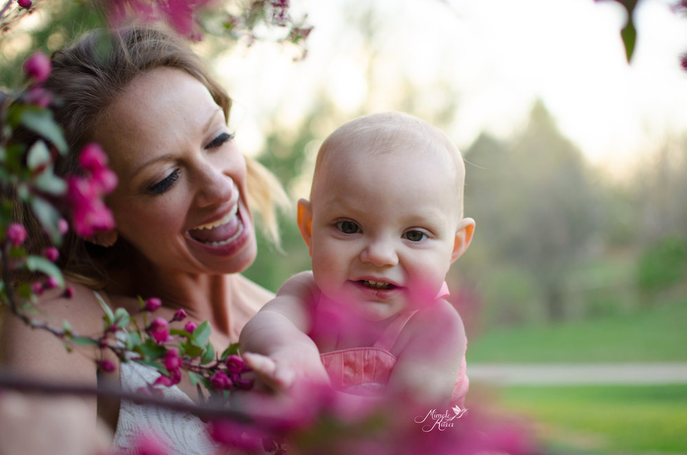 beautiful child photography, breastfeeding in blossoms, colorado mom