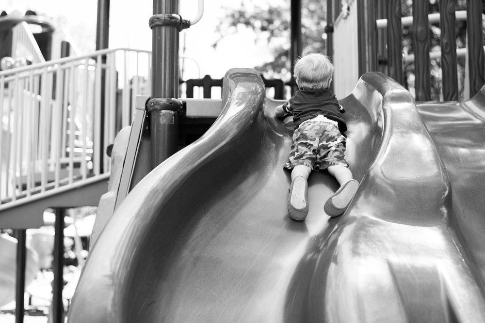 belly slide, playground diaries, toddler fun