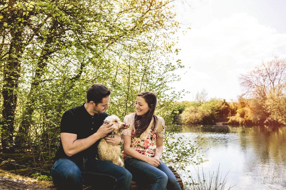 Woodland Engagement Shoot with Dog | Kate Jackson Wedding Photography