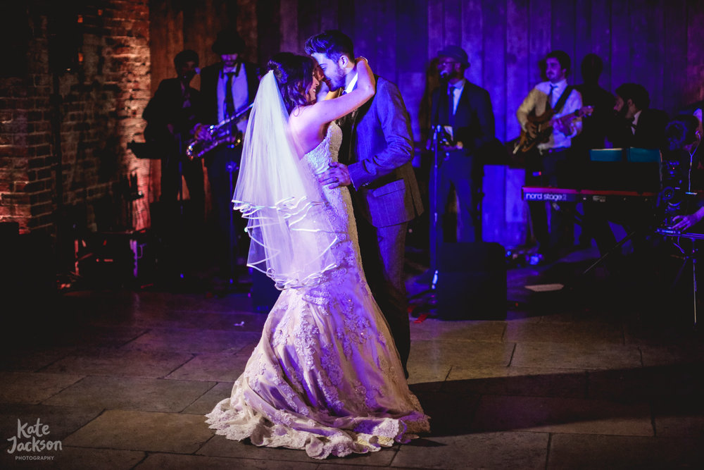 First Dance Quirky Shustoke Farm Barns Wedding Photographer | Kate Jackson Photography