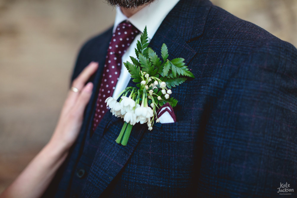 Gorgeous buttonhole from Isherwood & Co | Blackfriars Priory Gloucester Wedding