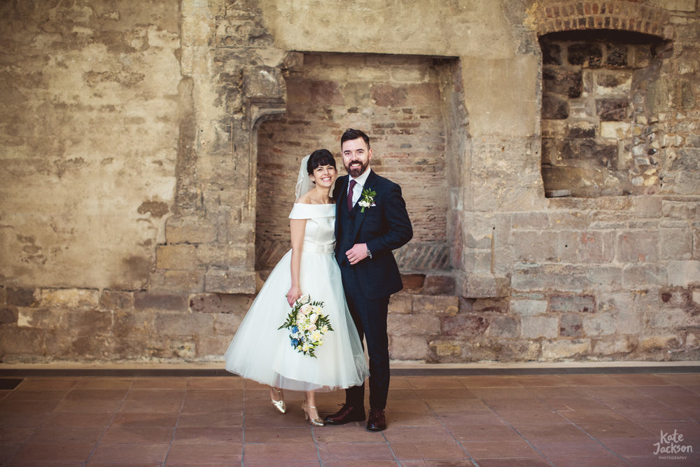 Alternative couple at quirky wedding in Blackfriars Priory Gloucester