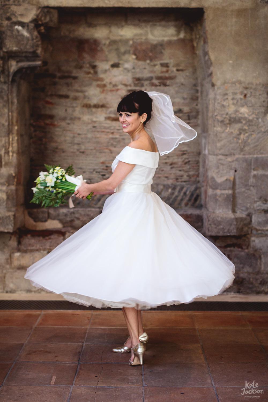 Boho Bride in vintage tea dress at Blackfriars Priory in Gloucester