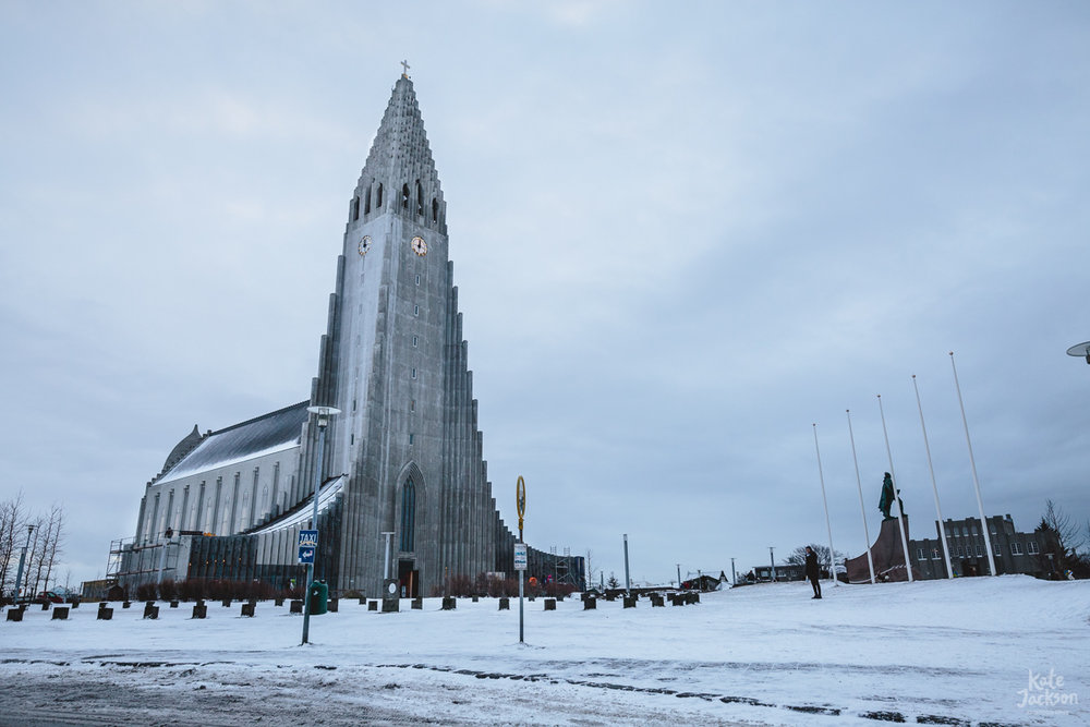 Iceland Travel Photography Reykjavík's main landmark,Hallgrímskirkja church.