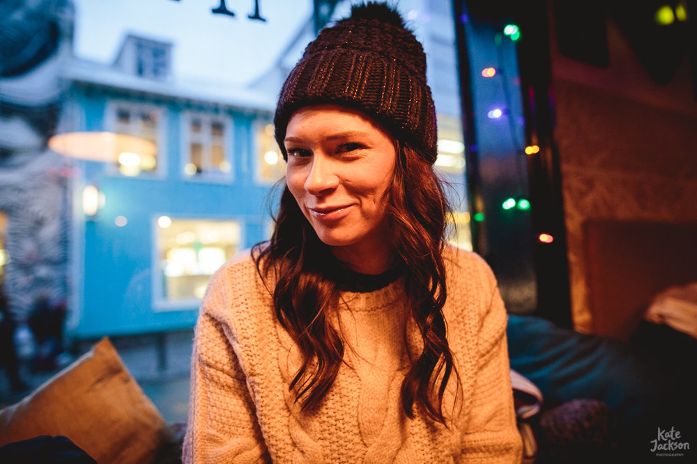 Iceland Travel Photography - Kate Jackson in cosy pub