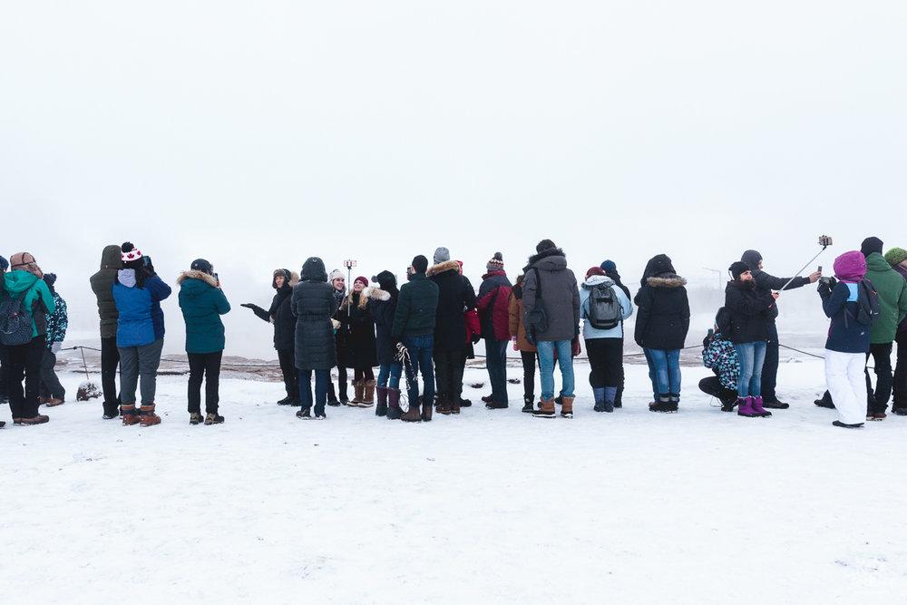 Iceland Travel Photography - Awaiting the Strokkur Geyser, a fountain geyser