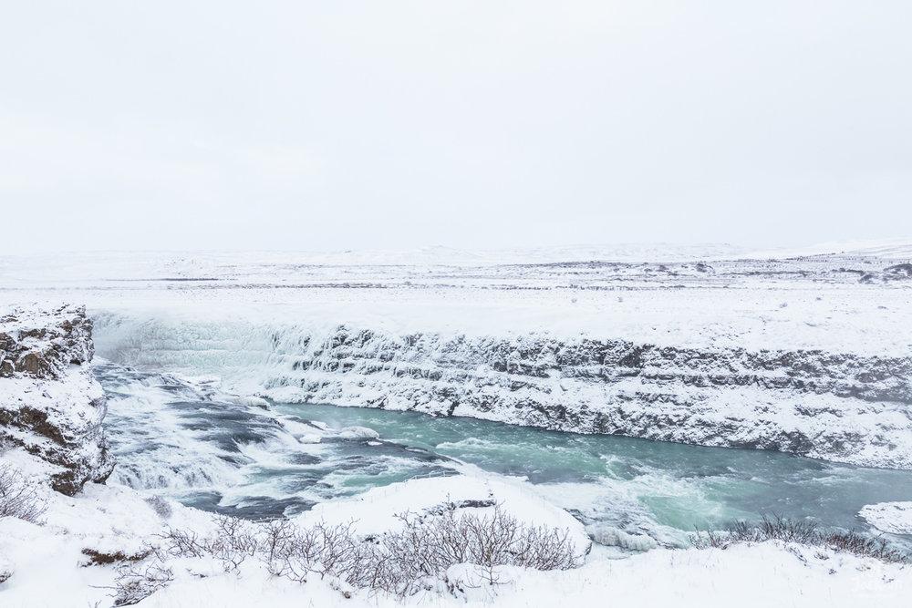 Iceland Travel Photography | Beautiful land of ice -  Gulfoss Waterfall.