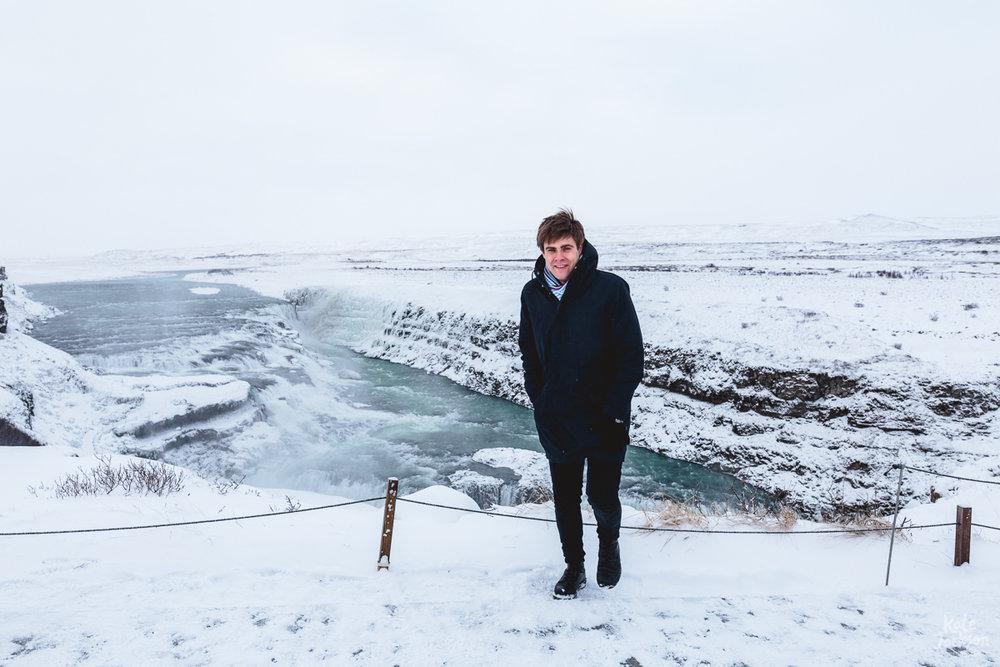 Iceland Travel Photography - Damon at Gulfoss Waterfall