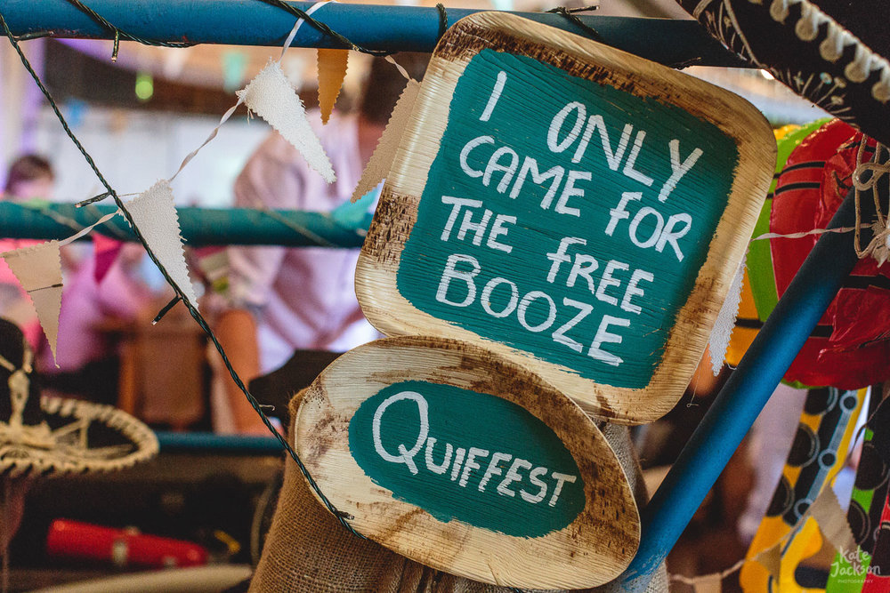 DIY 'I only came for the booze' wedding decor sign at Festival Wedding Ideas in Sheffield