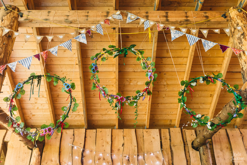 DIY festival wedding decorations hula hoop and bunting | Kate Jackson Photography