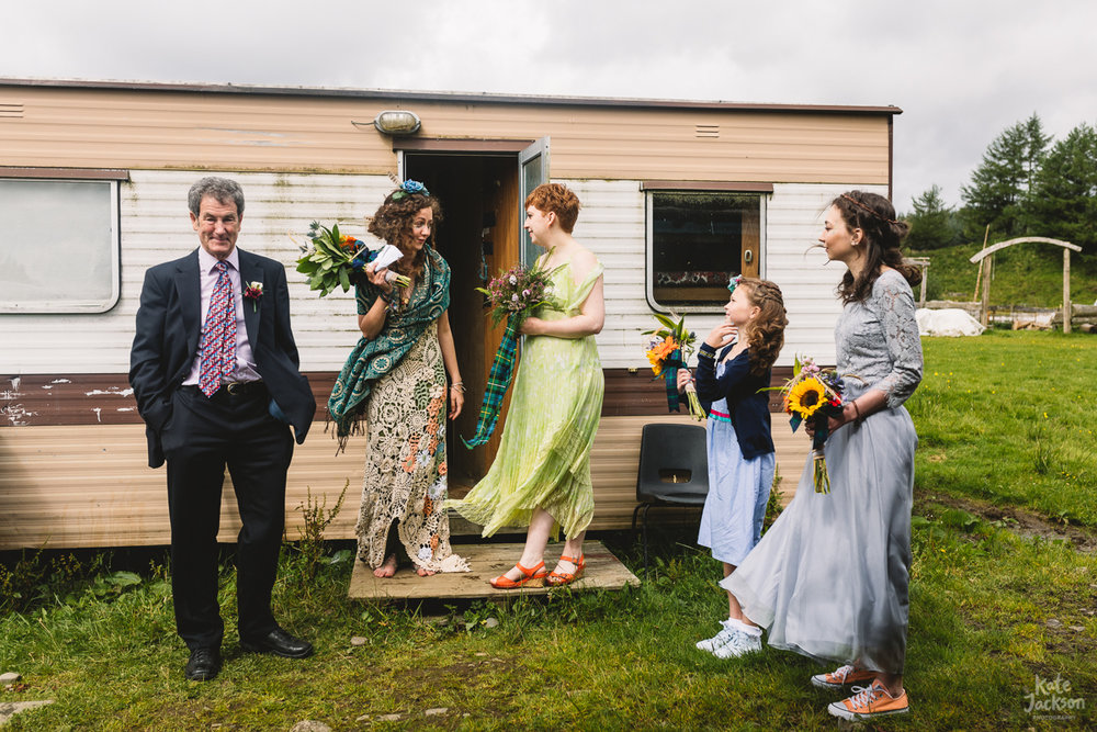 Alternative Bride and Bridesmaid outfits at DIY festival wedding in Scotland | Kate Jackson Photography