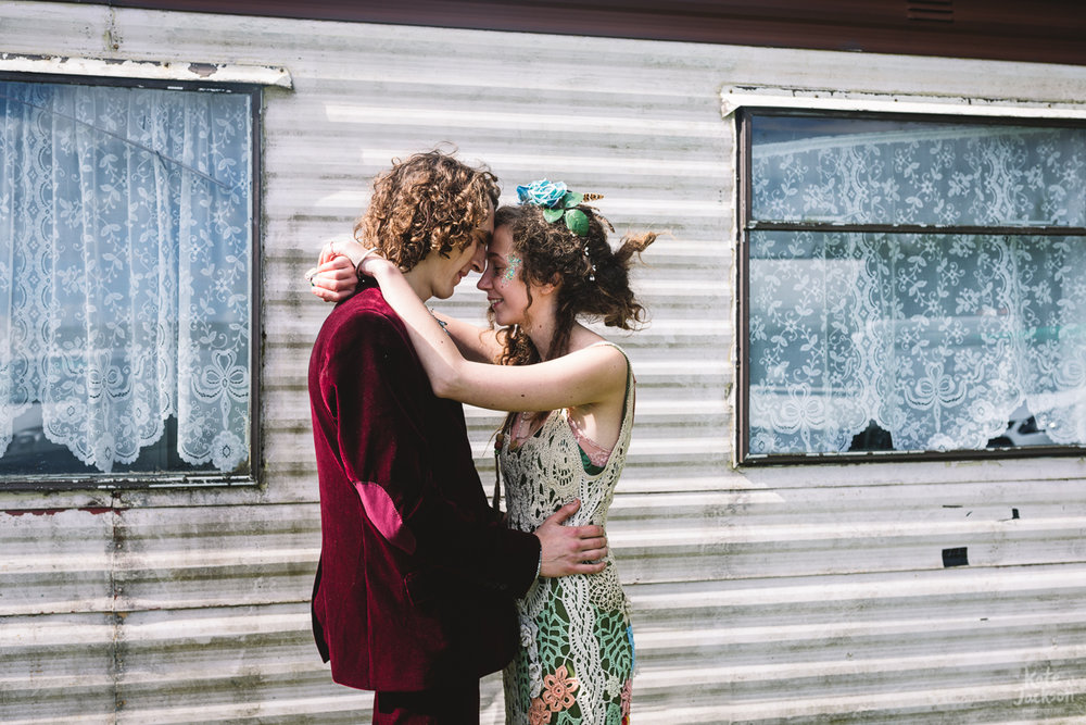 Bride and Groom in crochet alternative wedding dress and groom in velvet suit | Kate Jackson Photography