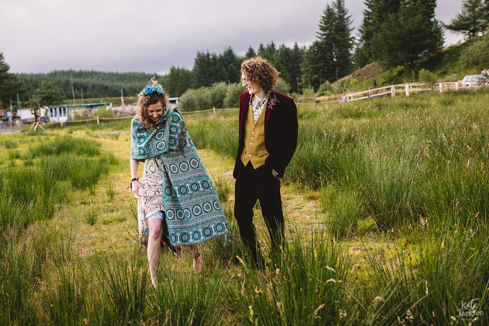 Alternative Wedding at Knockengorroch Farm in Scotland with a Bride in Crochet dress | Kate Jackson Photography