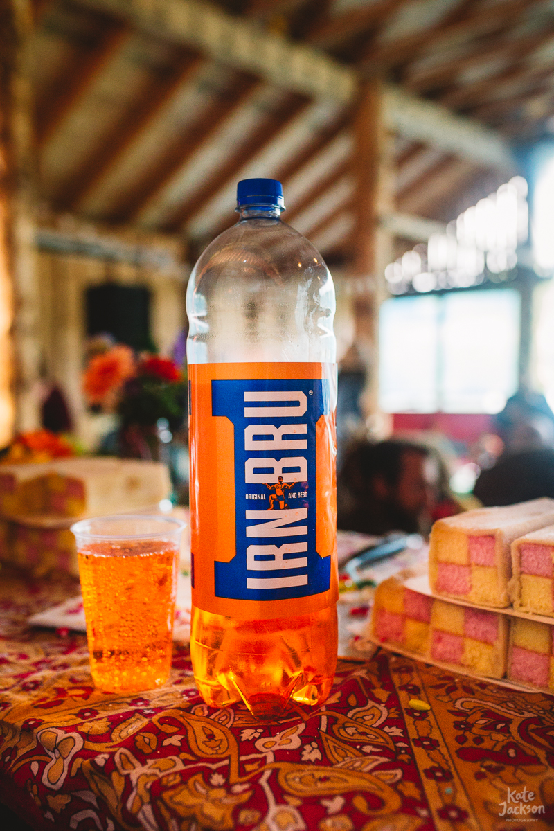 Iron Bru at DIY Festival Wedding at Knockengorroch in Scotland | Kate Jackson Photography