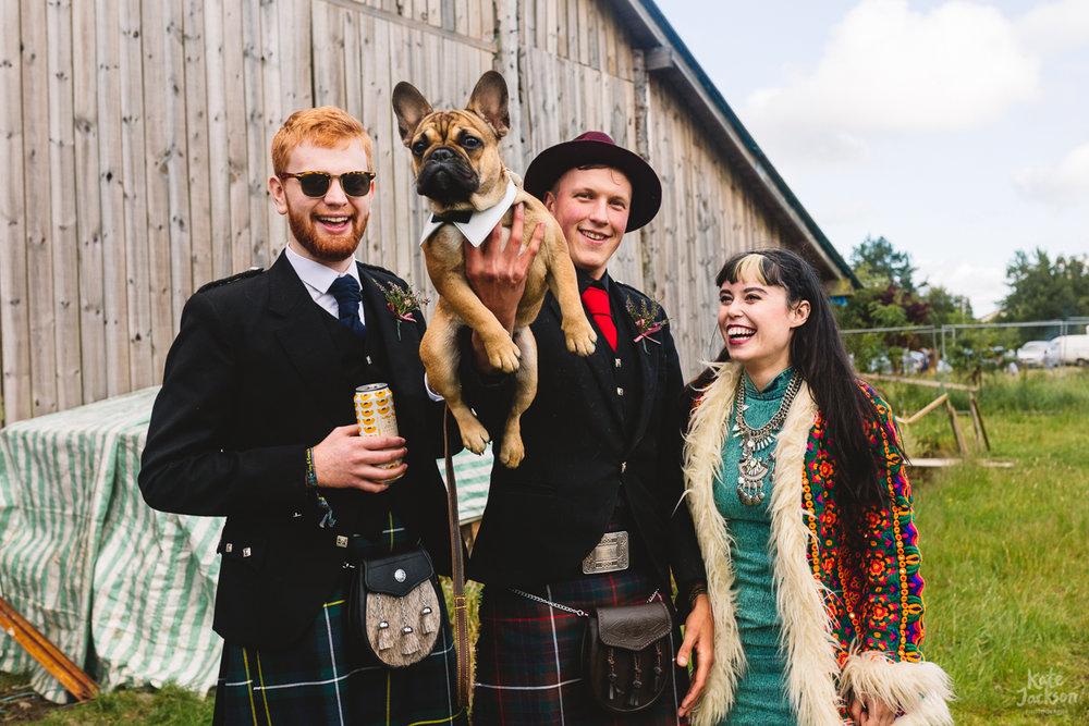 Dogs at DIY Festival Wedding in Scotland