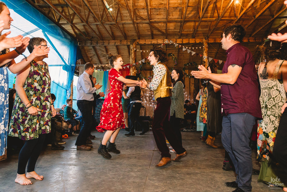 Crazy fun ceilidh dancing at Knockengorroch Wedding | Kate Jackson Photography