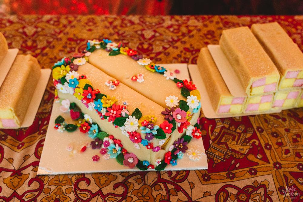 Battenburg alternative wedding cake at festival wedding in Scotland | Kate Jackson Photography