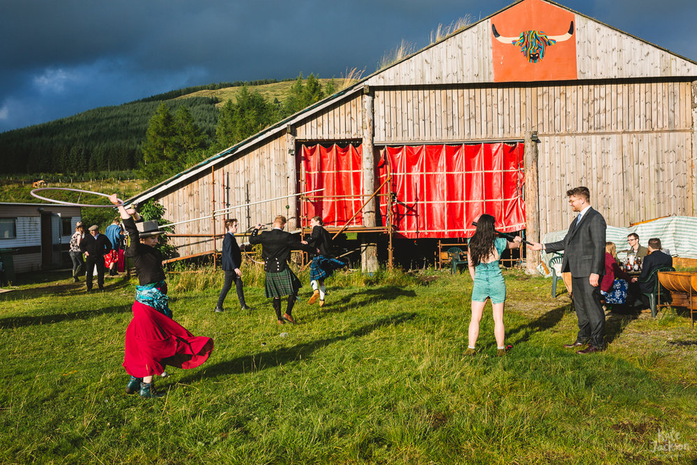 Circus at DIY Festival Outdoor Wedding | Kate Jackson Photography