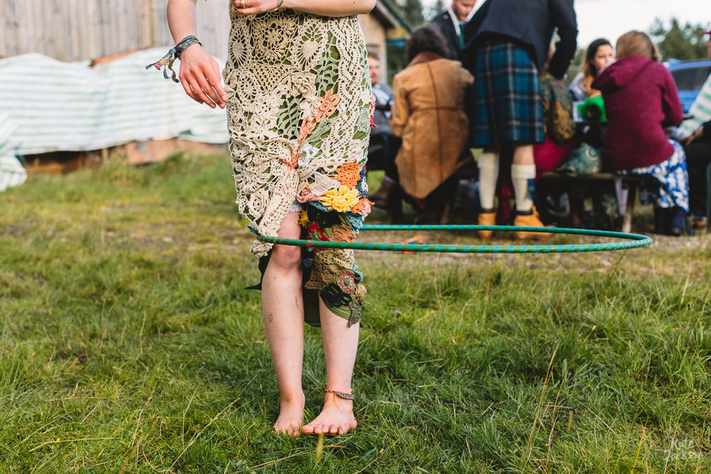 Bride hula hoop at DIY festival wedding in Scotland | Kate Jackson Photography