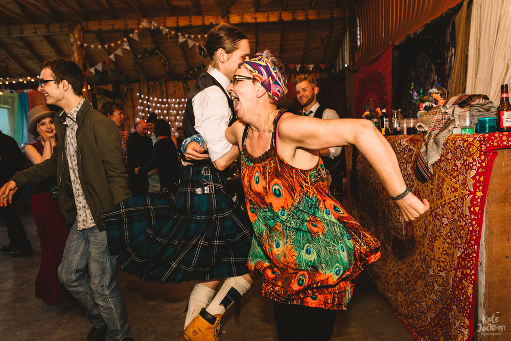 Joy at ceilidh at Knockengorroch Wedding in Scotland | Kate Jackson Photography
