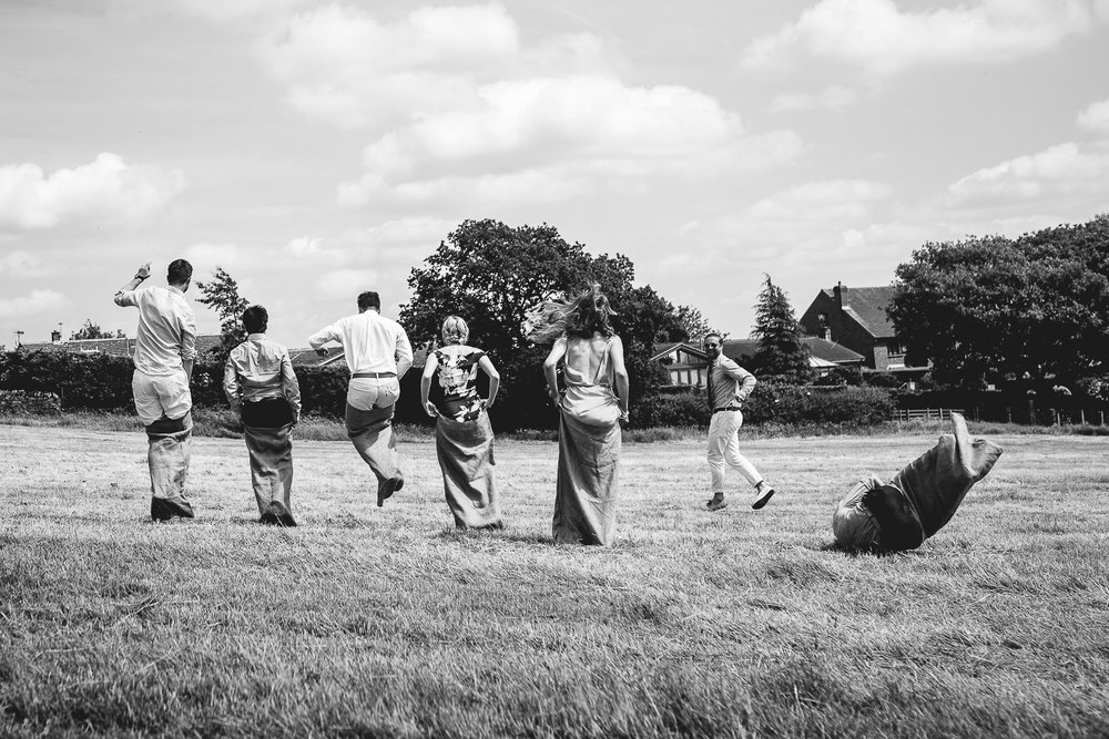 Fun sack racing at Outdoor Wedding in Sheffield