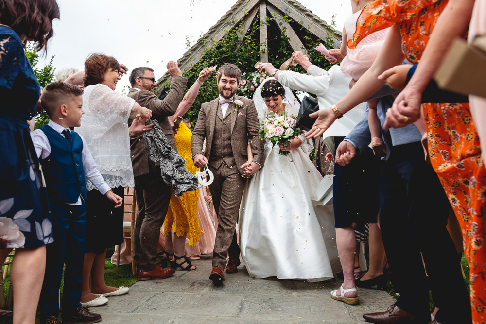 Fun Confetti photo at Hyde Barn Cotswolds | Kate Jackson Photography